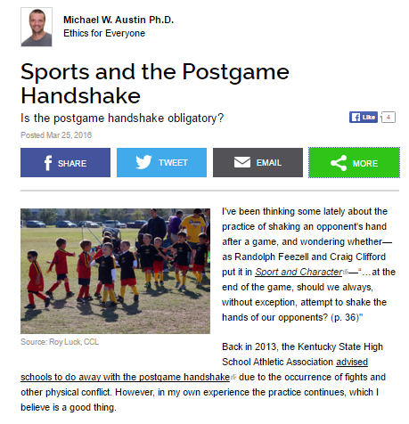 Sports and the Postgame Handshake   Psychology Today